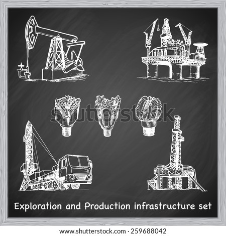 Exploration and Production infrastructure equipment in oil and gas industry. Set of 7 EPS10 vector illustrations in a sketchy style imitating scribbling on the blackboard. - stock vector