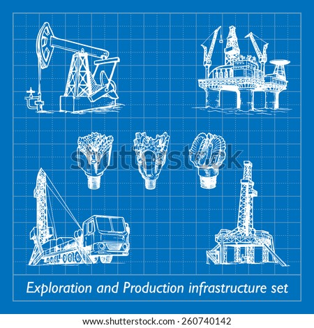 Exploration and Production infrastructure equipment in oil and gas industry. Set of 7 EPS10 vector illustrations imitating blueprint style scribbling with white marker. - stock vector