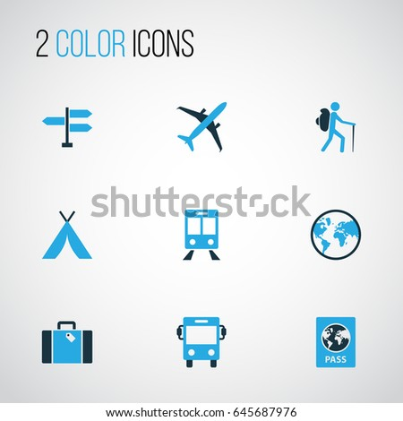 Exploration Colorful Icons Set. Collection Of Suitcase, Tourist, Tent And Other Elements. Also Includes Symbols Such As Bag, Railway, Train.