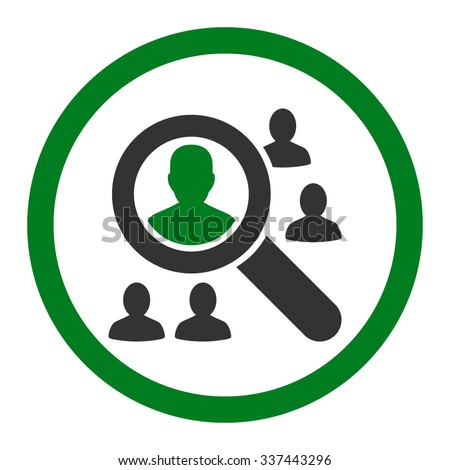Explore Patients vector icon. Style is bicolor flat rounded symbol, green and gray colors, rounded angles, white background. - stock vector
