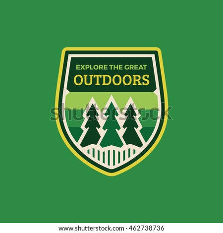 Explore the great outdoors woods badge logo graphic