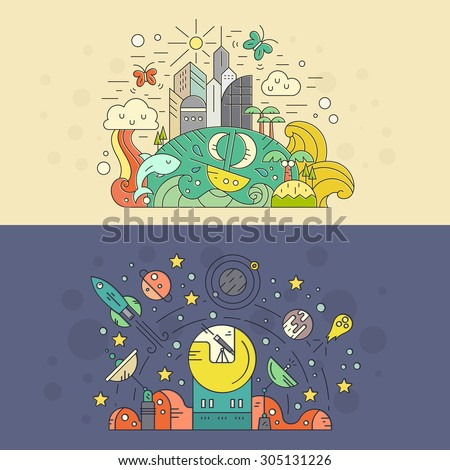Explore the world vector concept. Isolated flat style vector illustrations of space with planets, rocket, stars and observatory and tropical island with waves, ship and whale. - stock vector