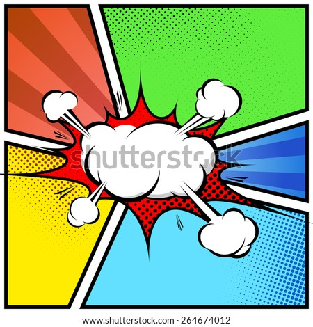 Explosion cloud abstract comic book style frame page template. Vector illustration - stock vector