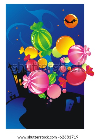 Explosion from sweets.  Halloween - stock vector