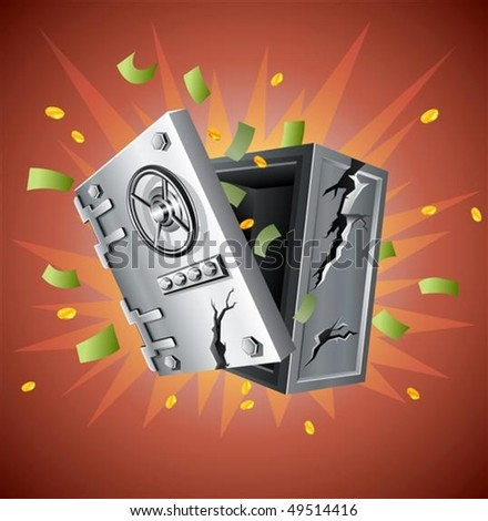 explosion of bank safe with money vector illustration - stock vector