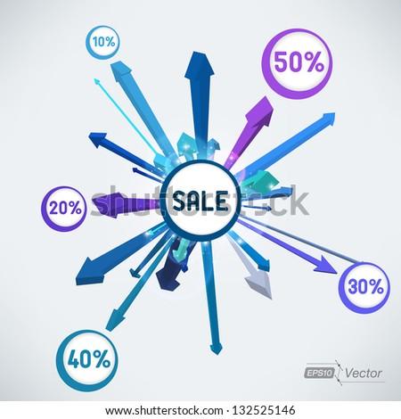 Explosion sale arrows - stock vector