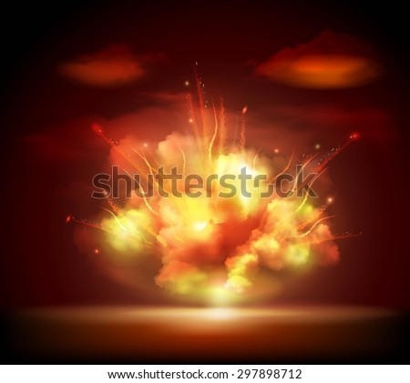 Explosion sparkling glow bursting in the night darkness with bright flashes background banner abstract vector illustration. Editable EPS and Render in JPG format - stock vector