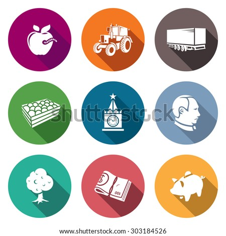 Export of Polish apples Icons Set. Vector Illustration. Isolated Flat Icons collection on a color background for design - stock vector