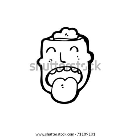exposed brain cartoon - stock vector