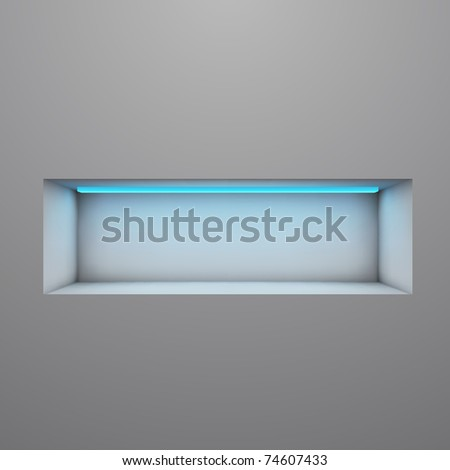 Exposition shelf illuminated with neon light vector illustration. - stock vector
