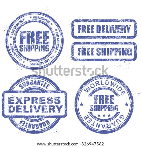 Express delivery and free worldwide shipping - blue grunge stamps