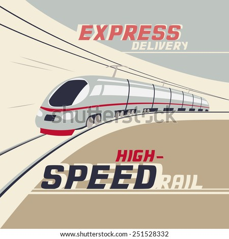 Express delivery by high-speed rail. Vintage illustration of high-speed train - stock vector