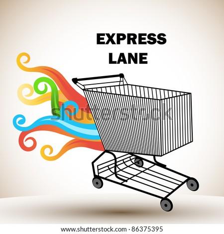 Express lane cart - stock vector
