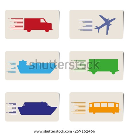 express travel, transport tags with shadow vector