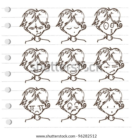 expression comic face doodle illustration vector - stock vector