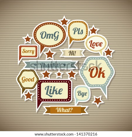 expression icons over vintage background  vector illustration - stock vector