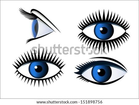 Expression of eyes in line - stock vector