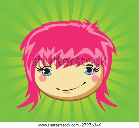 Expression of girl's fase, vector - stock vector