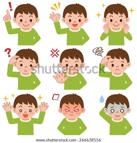 Expression set of boy - stock vector