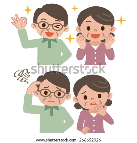 Expression set of senior couple - stock vector