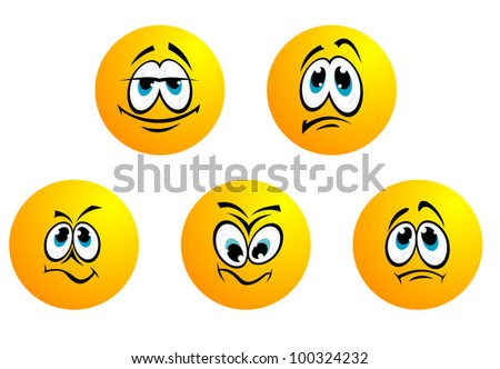 Expression smiles and icons. Jpeg version also available in gallery - stock vector