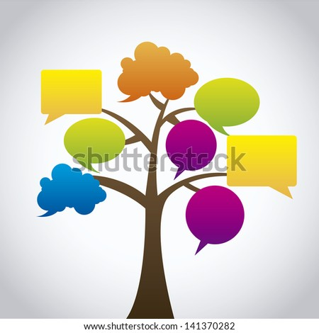 expression tree icons over gray background vector illustration - stock vector