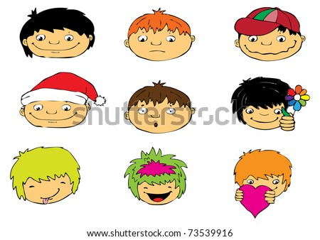 Expressions of boy's face, vector - stock vector