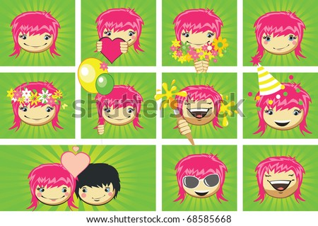 Expressions of girls's face, vector - stock vector