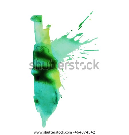 Expressive abstract watercolor stain with splashes and drops of blue color. Design background for banner and flyers