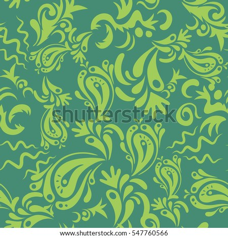 Exquisite floral baroque template in green colors. Vector damask seamless pattern. Classical luxury old fashioned damask ornament, royal victorian seamless texture for wallpapers, textile, wrapping.