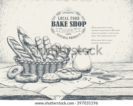 exquisite hand drawn bake shop poster with delicious bread - stock vector