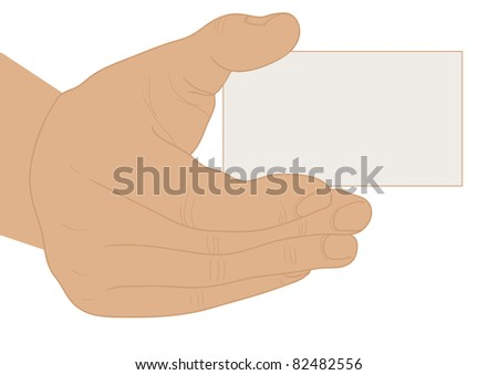 Extended hand a business card empty over white background - stock vector