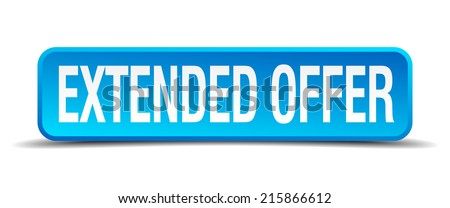 extended offer blue 3d realistic square isolated button