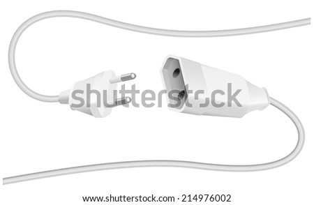 Extension cable and plug with two round pins, to connect electrical equipment. Isolated vector illustration on white background. - stock vector