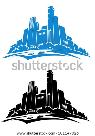 Exterior of downtown - modern buildings silhouettes on white background. Jpeg version also available in gallery - stock vector