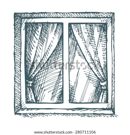 window view drawing. exterior view of a closed square modern window in concrete wall. vector monochrome freehand ink drawing u