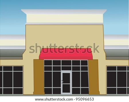 exterior view of a single storefront with a red awning - stock vector