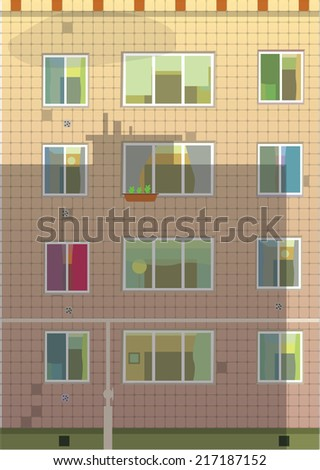 Exterior wall  with  windows. Apartment building. Vector illustration. - stock vector