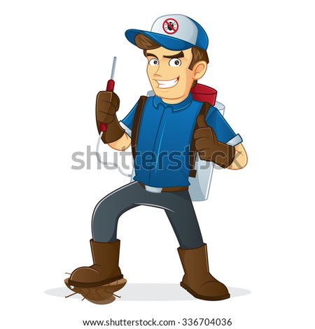 Exterminator holding pest sprayer - stock vector