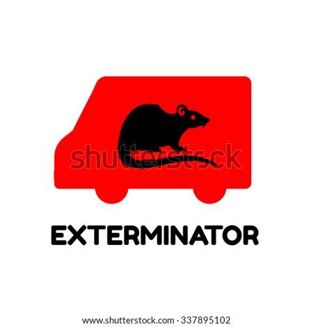 Exterminator van icon logo template - stock vector