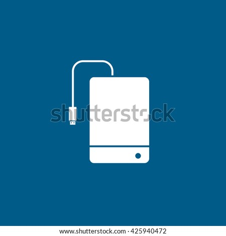 External Hard Disc Drive Flat Icon On Blue Background - stock vector
