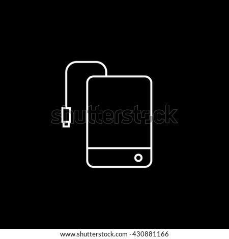 External Hard Disc Drive Icon On Black Background - stock vector