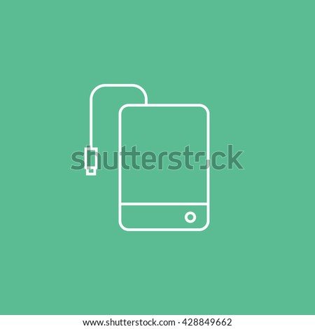 External Hard Disc Drive Icon On Green Background - stock vector