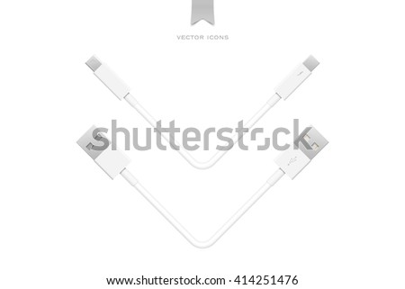 external peripherals interface cables isolated on white background. vector PCI Express, Display Port. computer peripheral or monitor high speed connector supply. universal serial bus and thunderbolt - stock vector