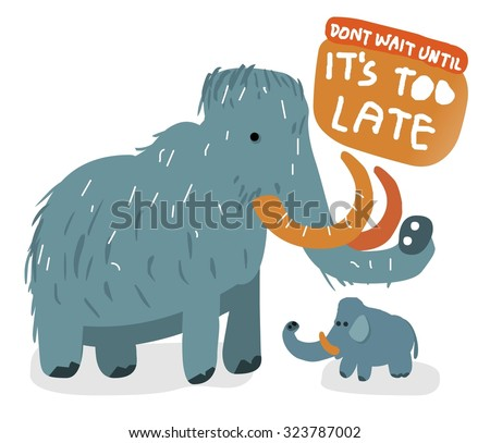 Extinct Wolly mammoth. Vector illustration Flat - stock vector