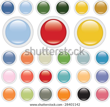 extra big glossy circle buttons # 3 - stock vector