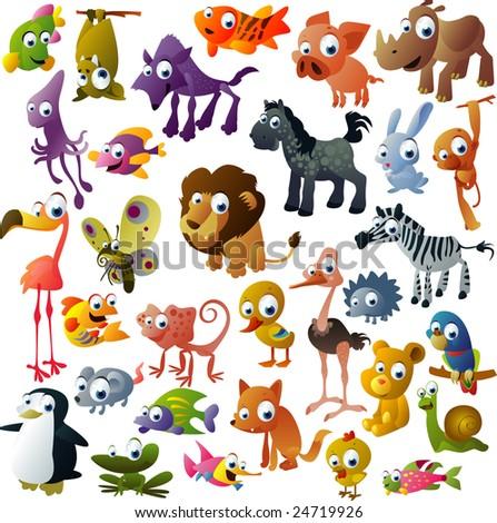 extra big vector animal set - stock vector