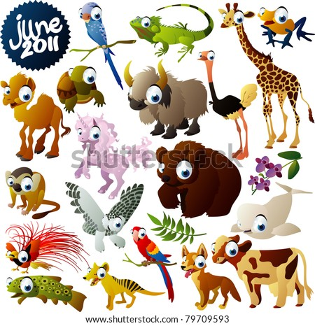 extra big vector animals set - stock vector