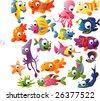 extra big vector fish set - stock vector