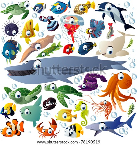 Extra big vector set of sea animals - stock vector